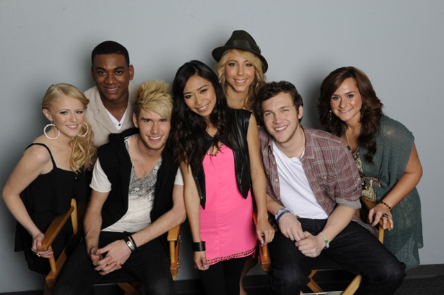 AMERICAN IDOL: Top 7 (with save): L-R: Holly Cavanaugh, Josh Ledet, Colton Dixon, Jessica Sanchez (saved), Elise Testone, Phillip Phillips and Skylar Laine. CR: Michael Becker / FOX.