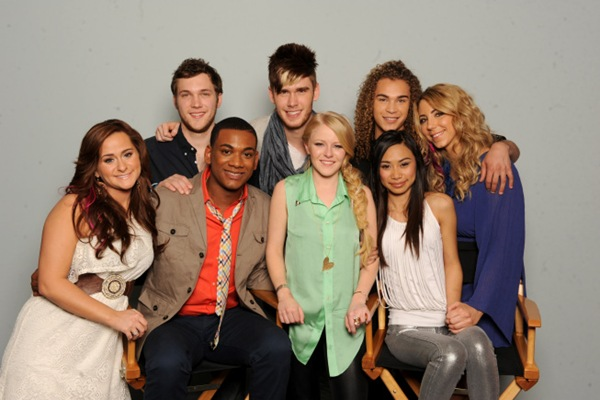 AMERICAN IDOL: FINAL 8: Clockwise from L: Skylar Laine, Phillip Phillips, Colton Dixon, DeAndre Brackensick, Elise Testone, Jessica Sanchez, Hollie Cavanagh and Joshua Ledet on AMERICAN IDOL airing Wednesday, March 29 (8:00-9:00 PM ET/PT) on FOX. CR: Frank Micelotta / FOX.