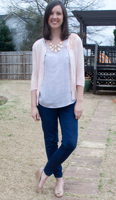 print shirt, statement necklace, jeans