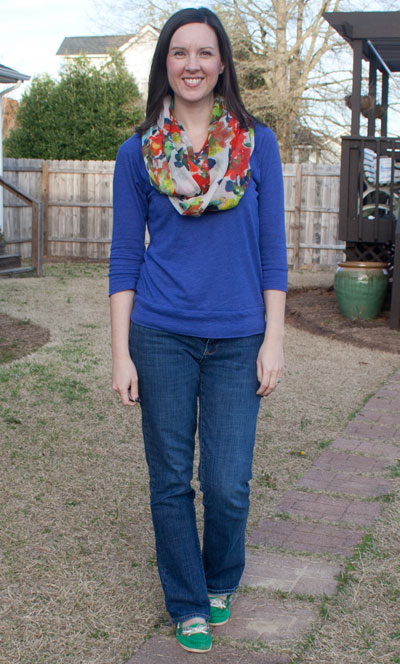blue shirt, bright scarf