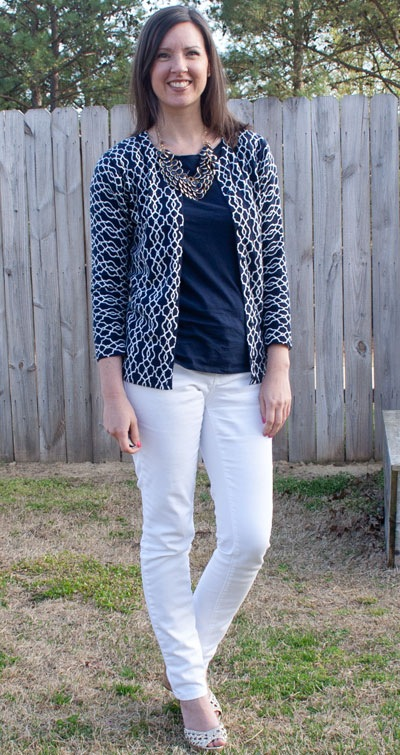navy top, white pants